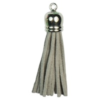 SILVER TOP Tassels - Light Grey