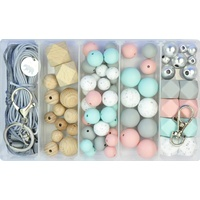 Deluxe Silicone & Wood Bead DIY Kit - Pastel Granite