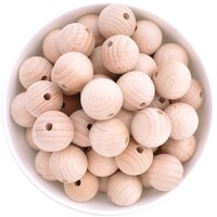 Beech Wood Beads - 19mm Round