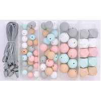 Silicone & Wood Bead Jewellery Kit - Dusky Granite