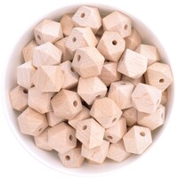 Beech Wood Beads - 15mm Hexagon