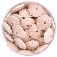 Beech Wood Beads - 30mm Saucer