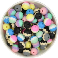 15mm Round Tri Colour Silicone Bead