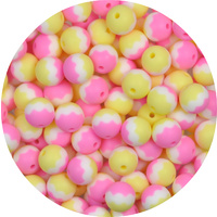 15mm Round Tri Colour - Pink, Snow and Pale Yellow