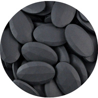 Faceted Flat Oval Smokey Black