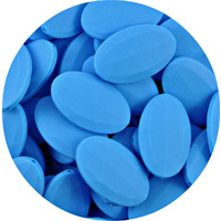 Faceted Flat Oval Deep Sky Blue