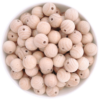 Beech Wood Beads - 15mm Round