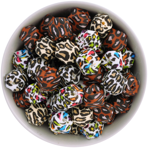 14mm Hexagon Silicone Bead - Leopard Print