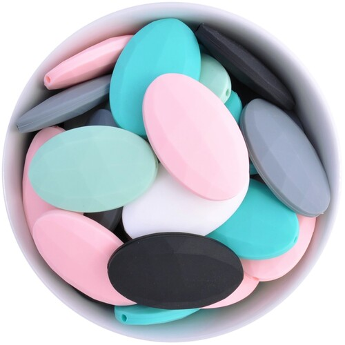 Faceted Flat Oval Silicone Bead